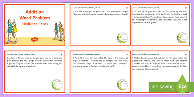 Year 3-4 Addition Word Problems Maths Challenge Cards