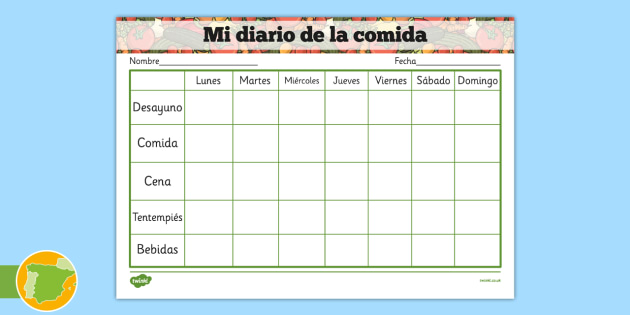 Healthy Eating My Food Journal Spanish - spanish, healthy eating, healthy eating food journal, food journal, food diary, healthy eating food diary, food table, food record