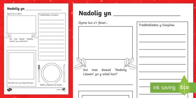 Taflen Weithgaredd Nadolig o Gwmpas y Byd - nadolig, ndolig, christmas, gwmpas y byd, ysgrifennu, traddodiadau, dathlu, Welsh