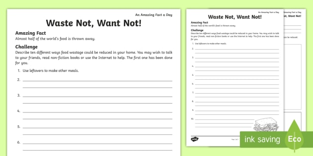 Waste Not Want Not Worksheet Activity Sheet Reduce Food