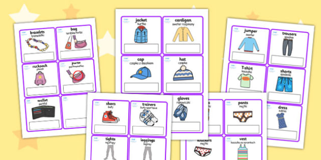 Clothes Editable Cards with English Polish Translation - polish