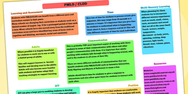 PMLD and CLDD  Advice Poster - PMLD, CLDD, SEN, special needs