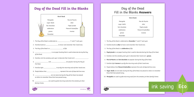 Day of the Dead Fill in the Blank Worksheet / Activity Sheet
