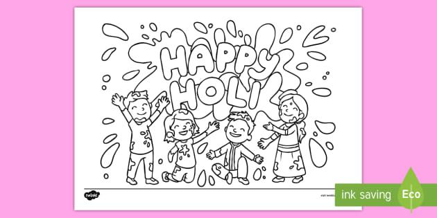 Happy Holi Colouring Page (teacher made)
