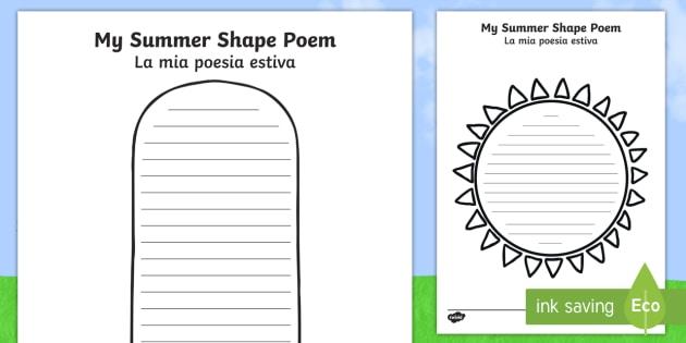 summer shape poetry templates english italian summer shape