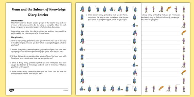 Fionn and the Salmon Of Knowledge Diary Entries Activity Sheets - Irish history, Irish story, Irish myth, Irish legends, Fionn and the Salmon of Knowledge, diary entries, writing, worksheet