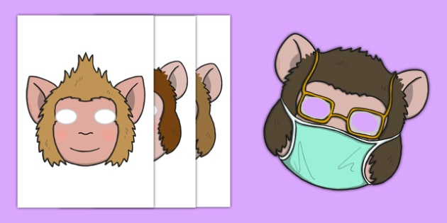 Five Little Monkeys Jumping Role Play Masks - counting, 5, monkey, nursery rhyme, song, singing, acting, roleplay, play, early years, eyfs, ks1, foundation, reception, nursery