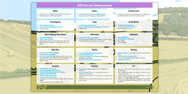 EYFS Harvest Enhancement Ideas - ideas, information early years, progress, improvement, learning, planning, resources, planning