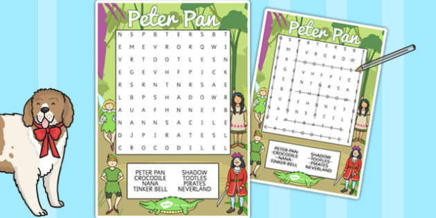 Peter Pan Wordsearch - activity, wordsearch, topic, keywords