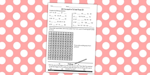 Counting in 7 Not From 0 Worksheet - counting, worksheet, 7, math