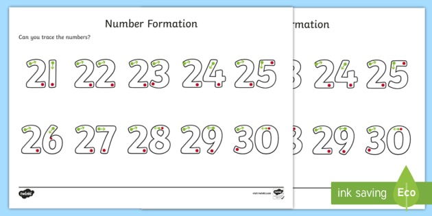 Number Formation Activity Sheet 21-30 - number formation, activity sheet, activity, number, formation, 21-30, worksheet, overwriting