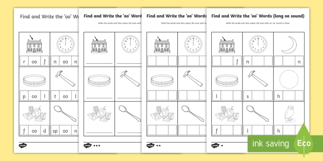 Write The Long Oo Sound Words Differentiated Activity Pack Write The Long