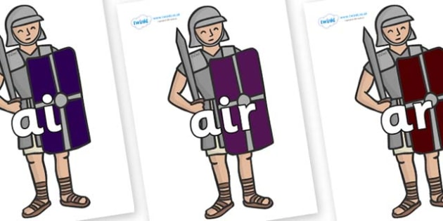 Phase 3 Phonemes on Roman Soldiers - Phonemes, phoneme, Phase 3, Phase three, Foundation, Literacy, Letters and Sounds, DfES, display