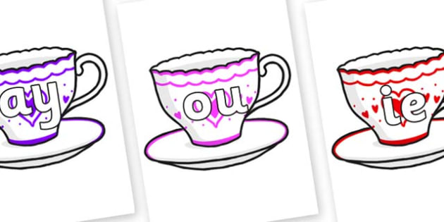 Phase 5 Phonemes on Cups and Saucers - Phonemes, phoneme, Phase 5, Phase five, Foundation, Literacy, Letters and Sounds, DfES, display