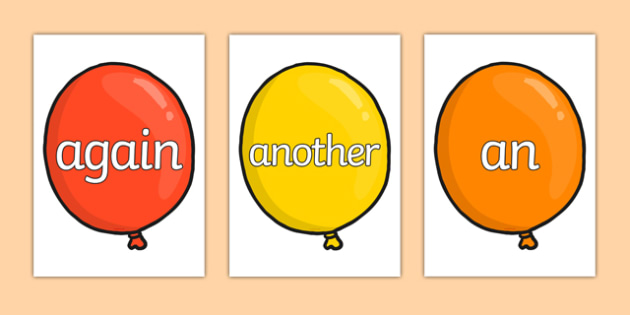 KS1 Keywords on Balloons - KS1, CLL, Communication language and literacy, Display, Key words, high frequency words, foundation stage literacy, DfES Letters and Sounds, Letters and Sounds, spelling
