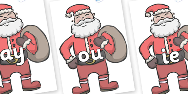 Phase 5 Phonemes on Santas - Phonemes, phoneme, Phase 5, Phase five, Foundation, Literacy, Letters and Sounds, DfES, display