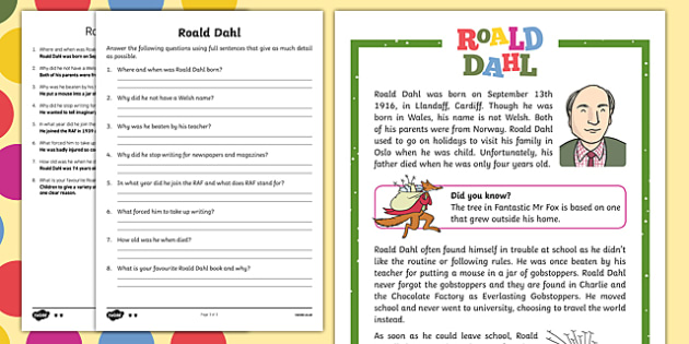 Charlie And The Chocolate Factory Comprehension Questions Ks