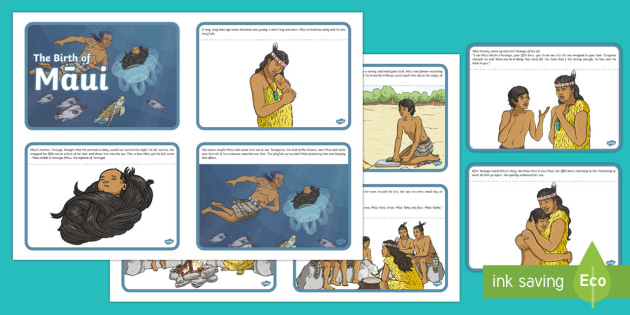 The Birth of Māui Story Cards - Maui Myths Maori legends, legend, myth, maui, birth, cards, story, reading, drama, NZ