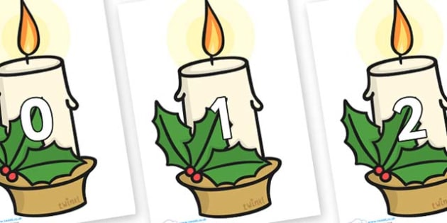 Numbers 0-50 on Christmas Candles - 0-50, foundation stage numeracy, Number recognition, Number flashcards, counting, number frieze, Display numbers, number posters