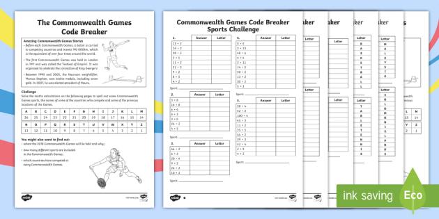 new lks2 the commonwealth games code breaker activity sheet. Black Bedroom Furniture Sets. Home Design Ideas