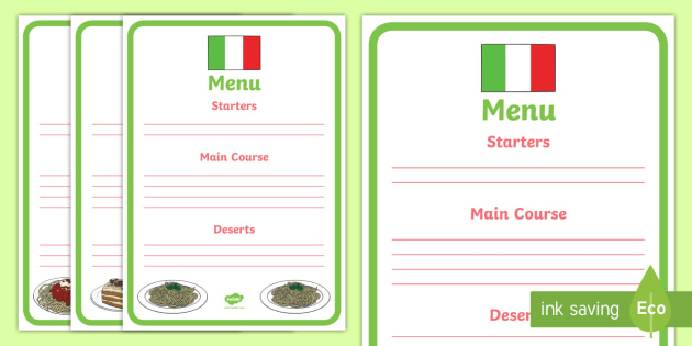 menu writing template