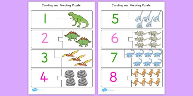 Dinosaur Themed Counting Matching Puzzle - australia, dinosaur