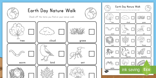 earth day nature walk activity sheet nature identification. Black Bedroom Furniture Sets. Home Design Ideas