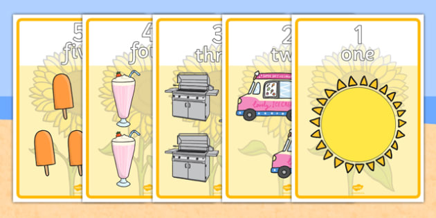 Summer Number and Word Posters - summer, number, word, posters, display