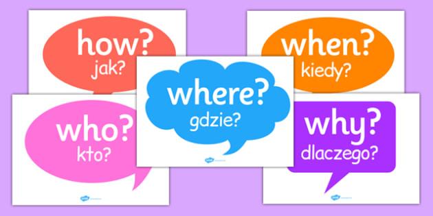 Question Words on Speech Bubbles Polish Translation - polish, question, words, speech, bubbles