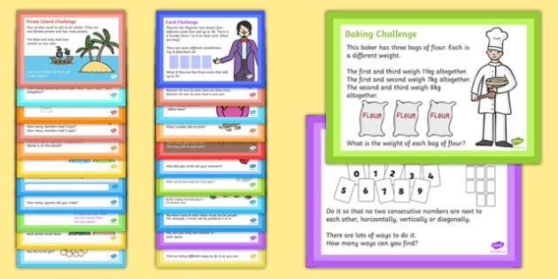 LKS2 Mixed Maths Challenge Cards - challenge, cards, lks2, maths