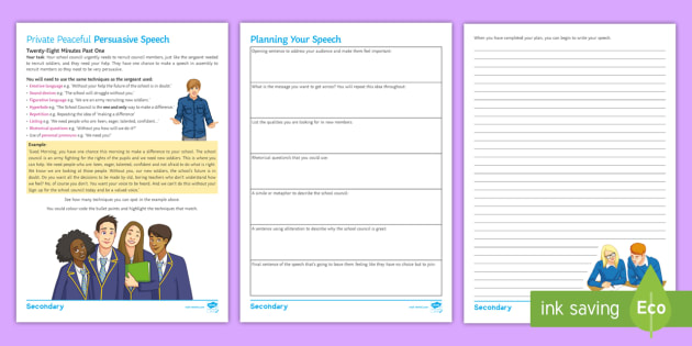 Exceptional School Council Persuasive Speech Worksheet / Activity Sheet To Support  Teaching On U0027Private Peacefulu0027