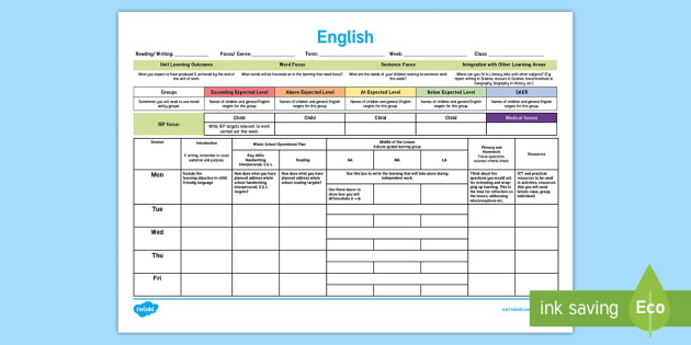 English Template Plan Planning Lesson Plan Weekly Plan