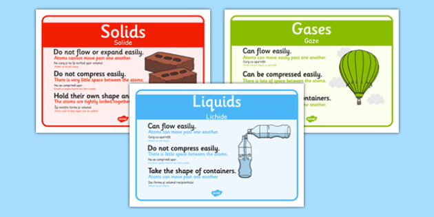 Solids, Liquids and Gases Posters Romanian Translation - romanian, States, poster, display, banner, sign, liquid, gas, solid, ice, forces, movement, gravity, push, pull, Magnet, friction, science, knowledge and understanding of the world
