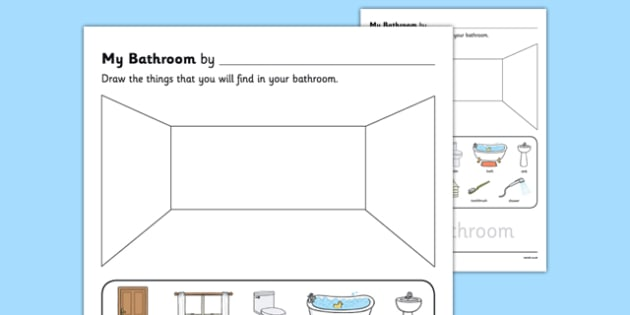 My Bathroom Aistear Follow On Worksheet - my bathroom, aistear, follow on, worksheet