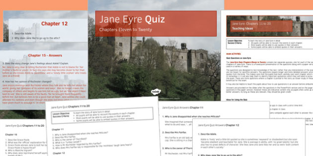 Jane Eyre Quiz Chapters 11-20 - jane eyre, chapters, 11, 20, ks3