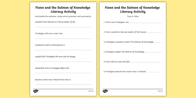 Fionn and the Salmon Of Knowledge Literacy Activity Sheets - Irish history, Irish story, Irish myth, Irish legends, Fionn and the Salmon of Knowledge, diary entries, writing, worksheet