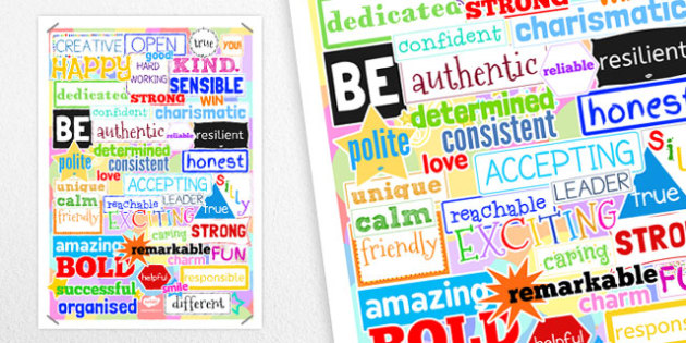 Inspirational Adjective Poster - inspirational, adjective, poster, display