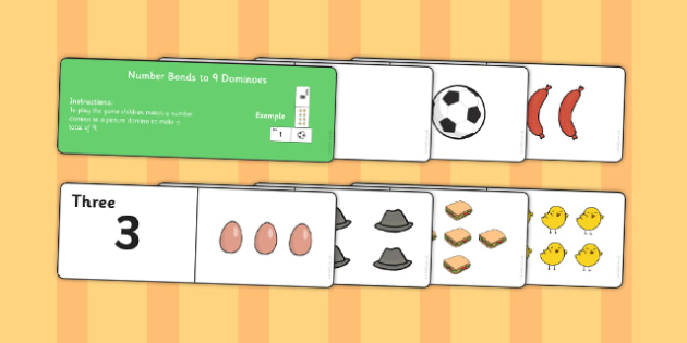 Number Bonds to 9 Dominoes - maths, numeracy, game, activity, counting, adding, early years, ks1, key stage 1