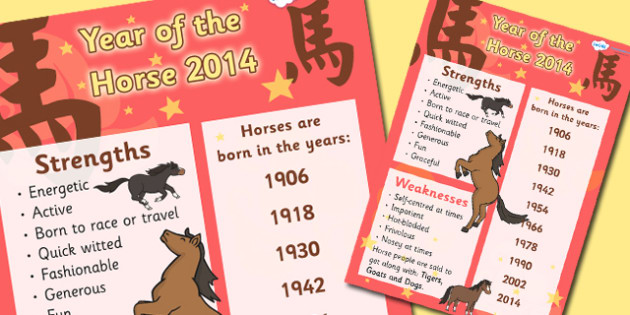 Chinese New Year of the Horse Display Poster - chinese new year