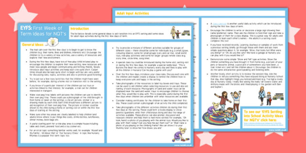 EYFS First Week of Term Ideas for NQTs - eyfs, first week, term, nqt