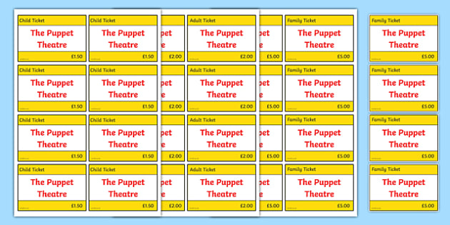 Puppet Theatre Role Play Tickets - puppet theatre, role-play, tickets