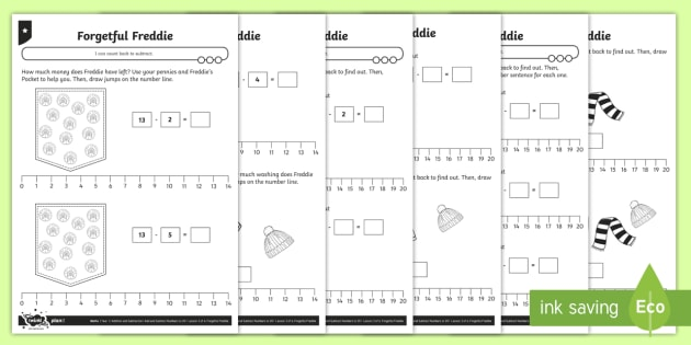 Counting Back to Subtract Differentiated Activity Sheets - Addition and Subtraction, count back, how many less, break count, keeping track, explain, prove, rep