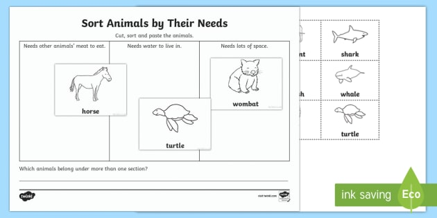 Sort Animals By Their Needs Worksheet Activity Sheet