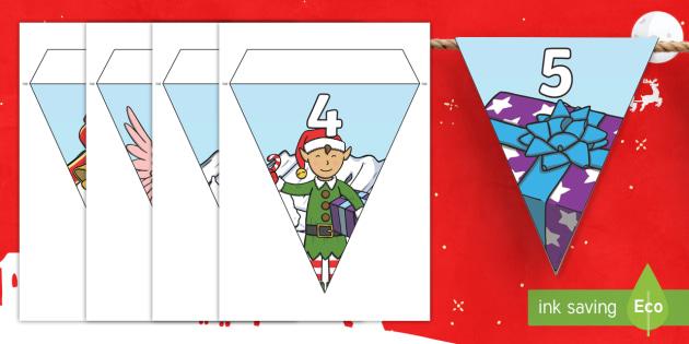 Christmas Number Bunting to 20 - christmas, bunting, themed bunting, display bunting, display, bunting flags, flag bunting, cut out bunting, paper bunting
