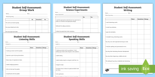 Student Self Assessments - Assessments and Evaluations