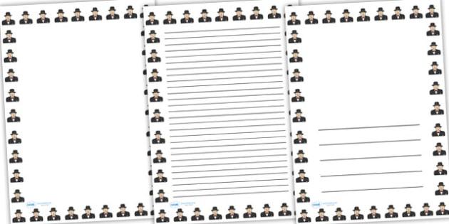 Winston Churchill Page Borders - winston churchill, page borders, writing frames, lined pages, writing guide, writing template, themed writing frame, write