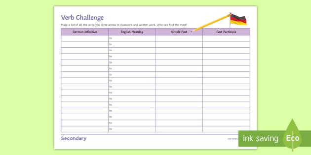verb table template worksheet activity sheet german verbs. Black Bedroom Furniture Sets. Home Design Ideas