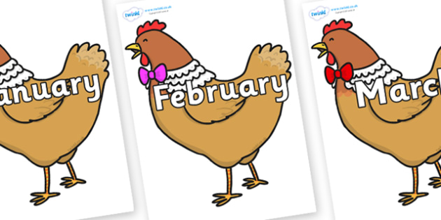 Months of the Year on Henny Penny - Months of the Year, Months poster, Months display, display, poster, frieze, Months, month, January, February, March, April, May, June, July, August, September