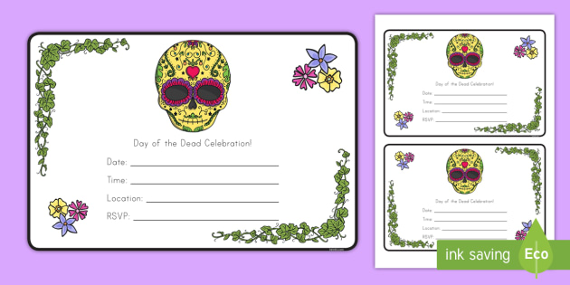 Editable Day Of The Dead Party Invitation Cards Dia De Los - Day of the dead party invitation template