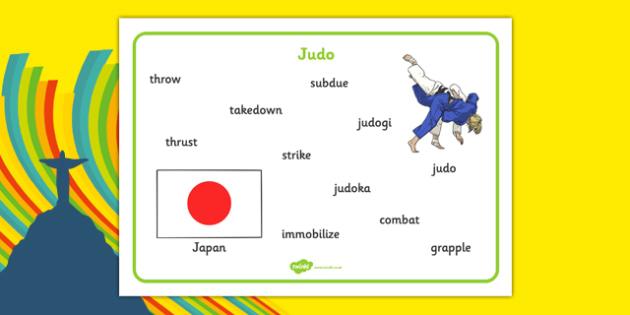 Rio 2016 Olympics Judo Word Mat - rio 2016, 2016 olympics, rio olympics, judo, word mat
